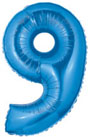 Number 9 Blue Mylar Balloon